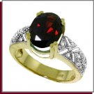 14K Yellow Gold 3.0 CT Oval Garnet & Diamond Ring SZ 5 - 9