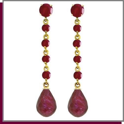 14K Yellow Gold 31.60 CT Genuine Ruby Dangle Earrings