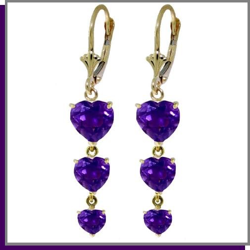 14K Yellow Gold 6.0 CT Heart Amethyst Dangle Earrings