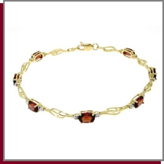 "14K Gold 3.38 CT Garnet & Diamond Tennis Bracelet 7.25"""