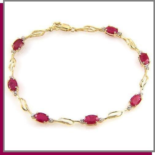 "14K Gold 4.2 CT Ruby & Diamond Tennis Bracelet 7.25"""