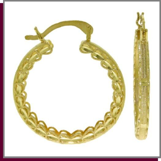 14K Solid Yellow Gold Heart Filigree Hoop Earrings