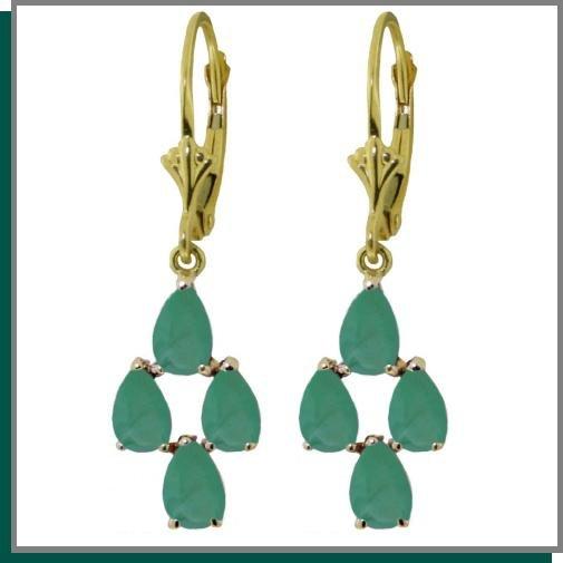 14K Gold 4.50 CT Pear Emerald Dangle Earrings
