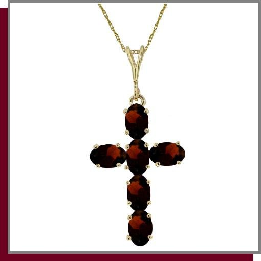 14K Solid Gold 1.50 CT Genuine Garnet Cross Necklace