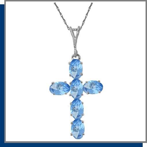 14K White Gold 1.50 CT Blue Topaz Cross Necklace