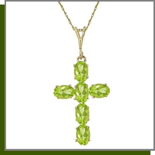 14K Yellow Gold 1.50 CT Peridot Cross Necklace