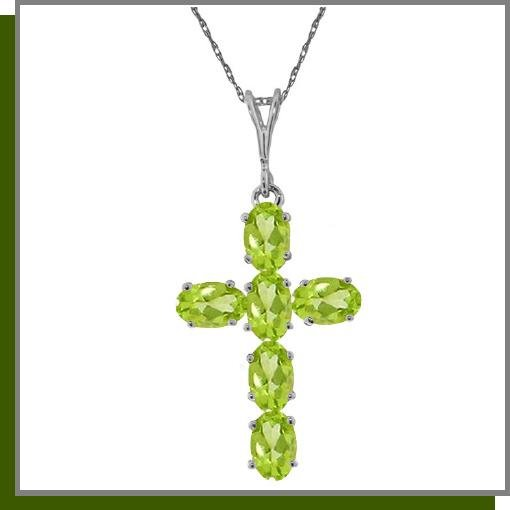 14K White Gold 1.50 CT Peridot Cross Necklace