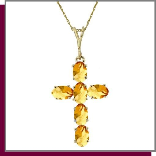 14K Yellow Gold 1.50 CT Citrine Cross Necklace