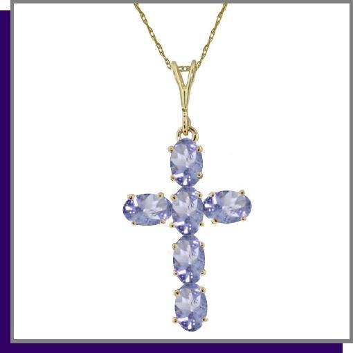 14K Yellow Gold 1.50 CT Tanzanite Cross Necklace