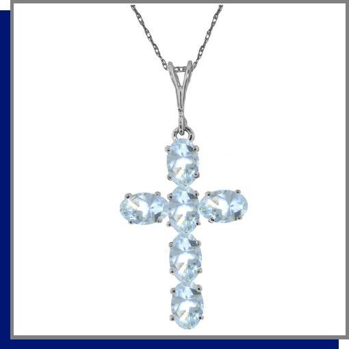 14K White Gold 1.50 CT Aquamarine Cross Necklace