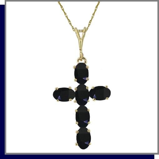 14K Yellow Gold 1.50 CT Sapphire Cross Necklace