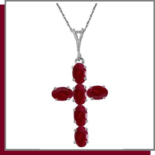 14K White Gold 1.50 CT Ruby Cross Necklace