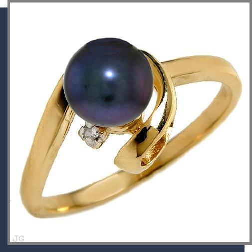 14K Gold 1.0 CT Black Pearl & Diamond Ring SZ 5 - 9