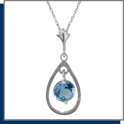 "14K White Gold Genuine Blue Topaz Necklace 18"""