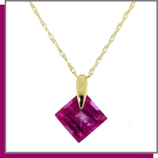 14K Yellow Gold 1.0 CT Pink Topaz Necklace 18""