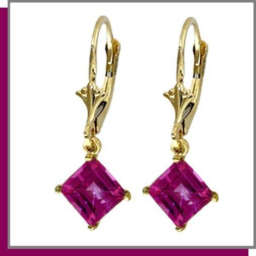 14K Yellow Gold 3.0 CT Pink Topaz Dangle Earrings