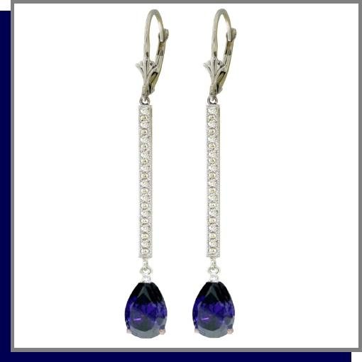 14K Gold 3.50 CT Sapphire & Diamond Dangle Earrings