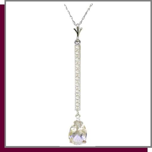 14K White Gold 1.75 CT White Topaz & Diamond Necklace