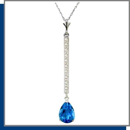 14K White Gold 1.75 CT Blue Topaz & Diamond Necklace