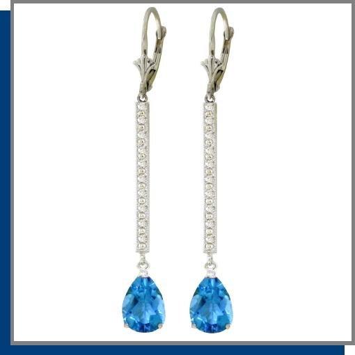 14K Gold 3.50 CT Blue Topaz & Diamond Dangle Earrings