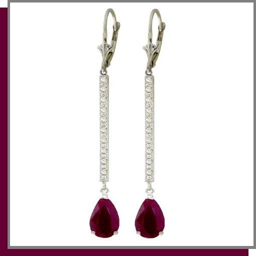 14K Gold 3.50 CT Ruby & Diamond Dangle Earrings