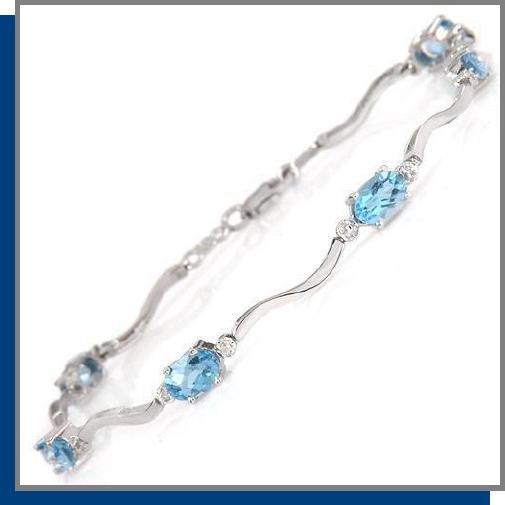 14K Gold 2.0 CT Blue Topaz & Diamond Tennis Bracelet