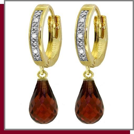 14K 4.50 Briolette Garnet & Diamond Hoop Drop Earrings