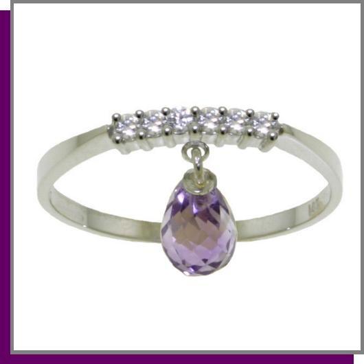14K White Gold 1.35 CT Amethyst & Diamond Dangle Ring SZ 5 - 9