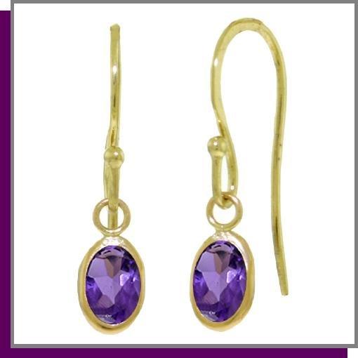 14K Yellow Gold 1.0 CT Oval Amethyst Dangle Earrings