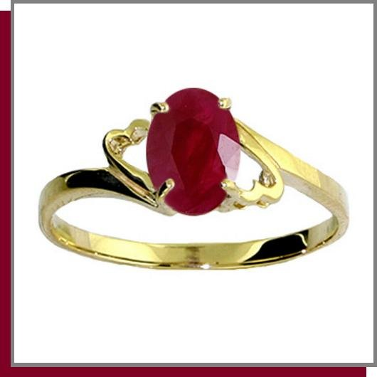 14K Yellow Gold 1.0 CT Oval Ruby Ring SZ 5 - 9