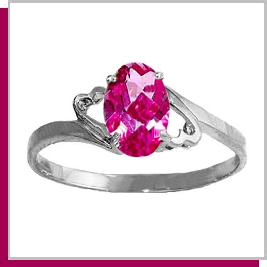 14K White Gold 1.0 CT Oval Pink Topaz Ring SZ 5 - 9
