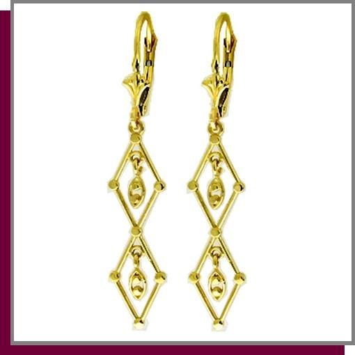 14K Solid Yellow Gold Chandelier Dangle Earrings
