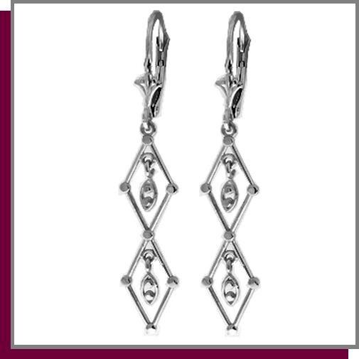 14K Solid White Gold Chandelier Dangle Earrings