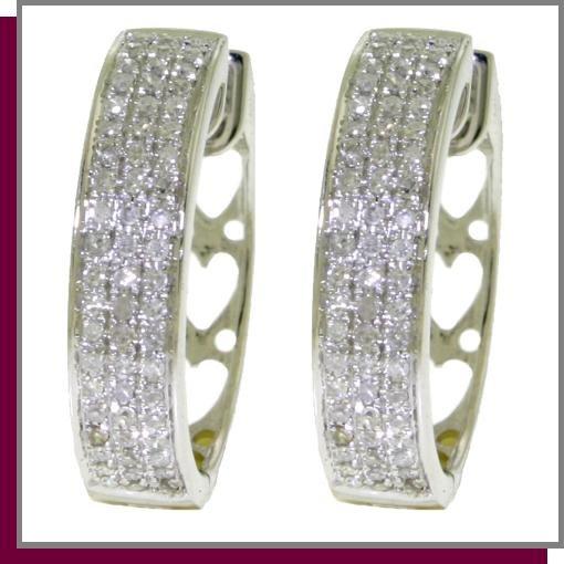 10K Solid White Gold Hoop Huggie Diamond Earrings