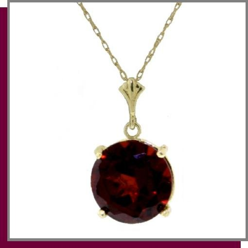 14K Solid Yellow Gold 1.0 CT Garnet Necklace 18""