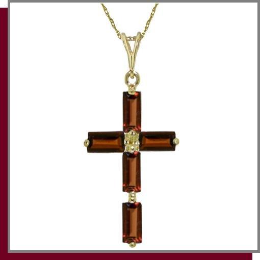 14K Yellow Gold 1.0 CT Baguette Garnet Cross Necklace