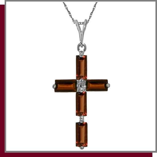 14K White Gold 1.0 CT Baguette Garnet Cross Necklace