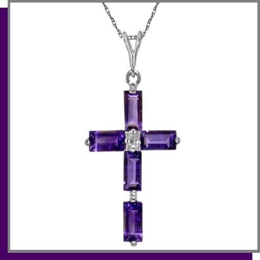 14K White Gold 1.0 CT Baguette Amethyst Cross Necklace
