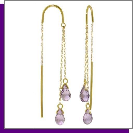 14K 2.50 CT Briolette Amethyst Threaded Earrings