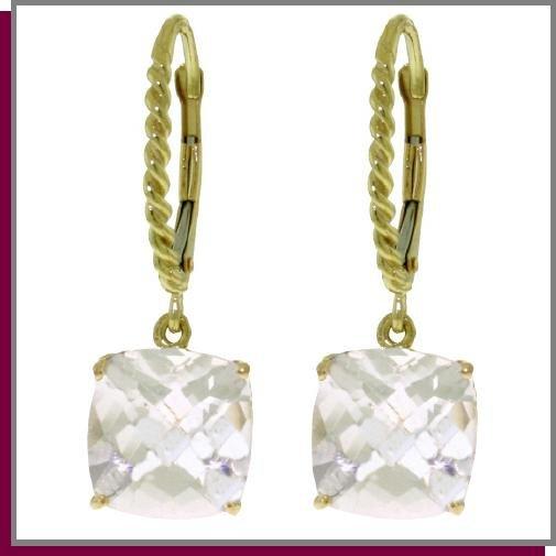 14K Gold 7.20 CT Cushion White Topaz Dangle Earrings