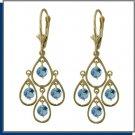 14K Solid Gold 2.4 CT Blue Topaz Chandelier Earrings