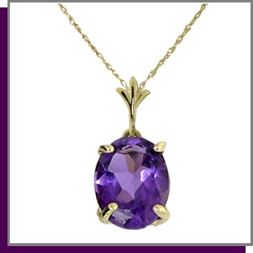 14K Solid Yellow Gold 3.0 CT Amethyst Necklace 18""