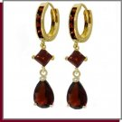 14K Solid Gold 5.6 CT Garnet Dangle Huggie Earrings