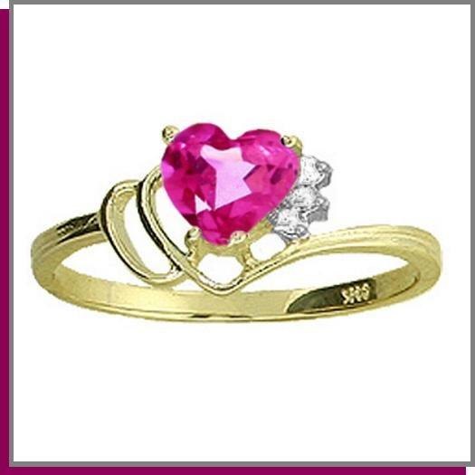 14K Gold 1.0 CT Heart Pink Topaz & Diamond Ring SZ 5 - 9