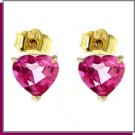 14K Yellow Gold 3.25 CT Heart Pink Topaz Stud Earrings