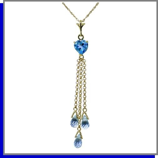14K Yellow Gold 4.75 CT Heart Blue Topaz Necklace