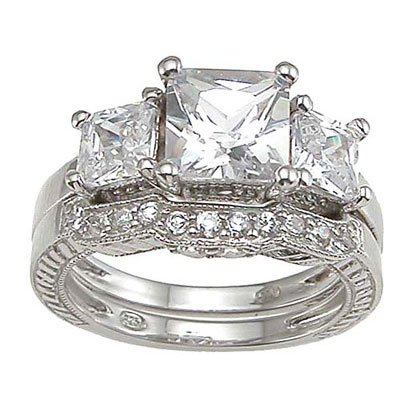 1.75 CT Princess Cut Sterling Silver Wedding Ring Set