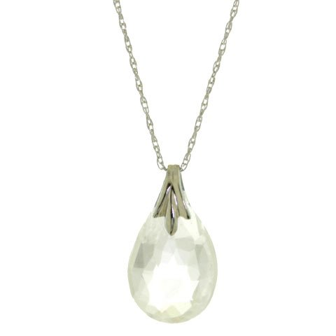 3.0 CT Briolette White Topaz Sterling Silver Necklace