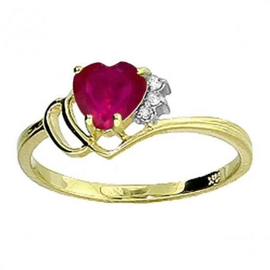 14K Gold 1.0 CT Heart Shape Ruby & Diamond Ring SZ 5 - 9