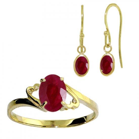 14K 2.0 CT Ruby Dangle Drop Earrings & Ring Set SZ 5-9